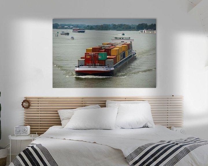 """Sfeerimpressie: Containerschip onder de """"zwaan"""" te Rotterdam. van Brian Morgan"""