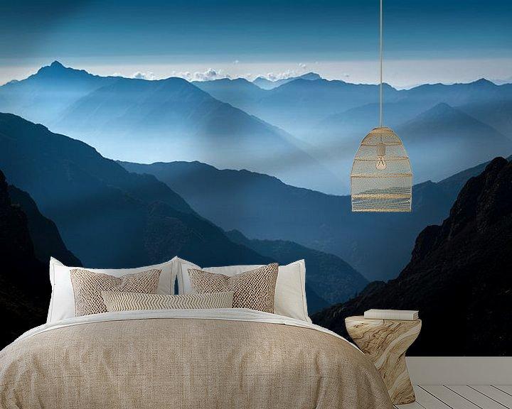 Sfeerimpressie behang: Blue van Maaike van Tol