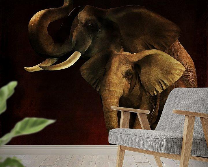 Sfeerimpressie behang: Dierenrijk – Olifanten Moeder en kind van Jan Keteleer
