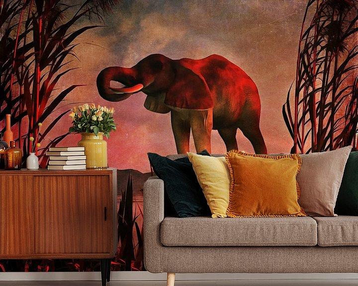 Sfeerimpressie behang: Dierenrijk – De drinkende olifant van Jan Keteleer