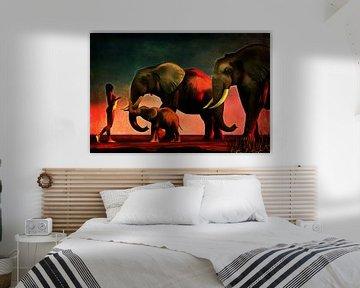 Dierenrijk – Olifanten ontmoeten een naakte vrouw van Jan Keteleer