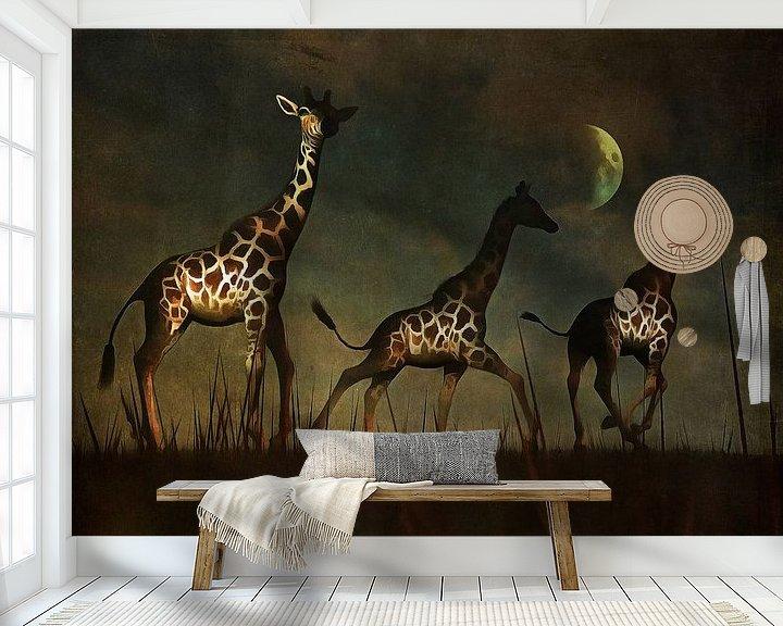 Sfeerimpressie behang: Dierenrijk – Giraffen op de vlucht van Jan Keteleer