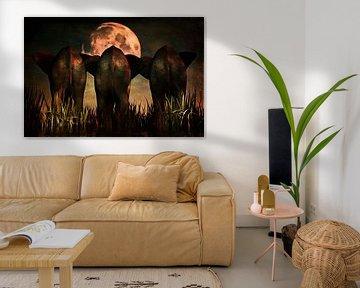 Dierenrijk – Olifanten Familie portret van Jan Keteleer