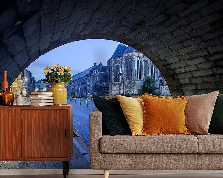 Sfeerimpressie behang: Michiels-brug van Marcel Derweduwen