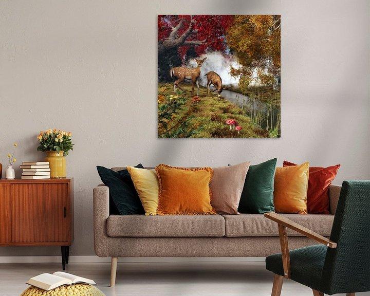 Sfeerimpressie: Dierenrijk – Twee herten in het bos van Jan Keteleer