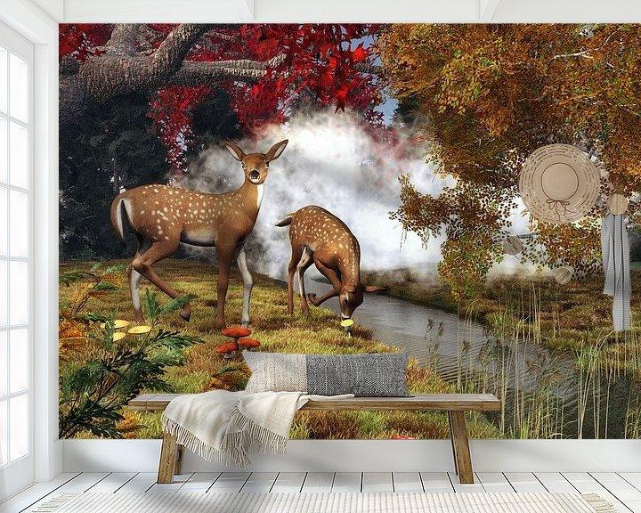 Sfeerimpressie behang: Dierenrijk – Twee herten in het bos van Jan Keteleer