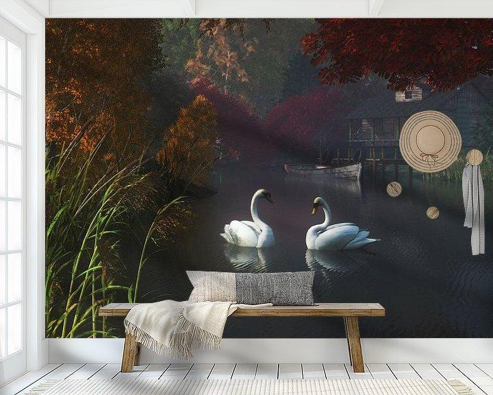 Sfeerimpressie behang: Dierenrijk – Zwanen in een rivier in de buurt van huis van Jan Keteleer