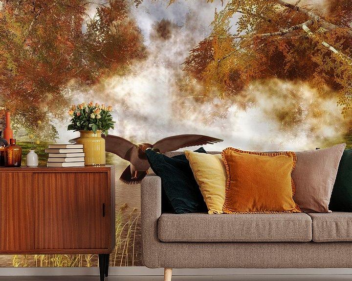 Sfeerimpressie behang: Dierenrijk – Twee eenden in een vijver van Jan Keteleer