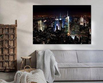 Manhattan by Night, New York van Maurice Moeliker
