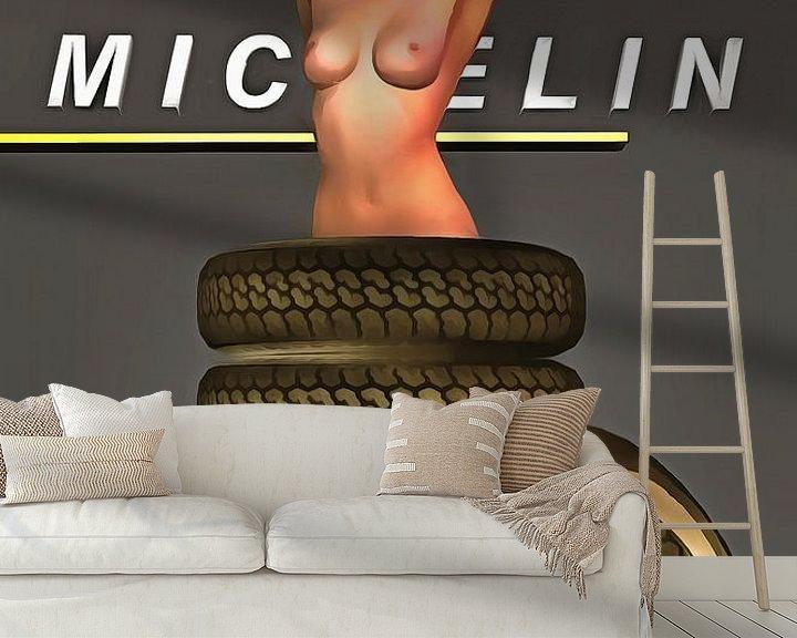 Sfeerimpressie behang: Pop Art – Michelin Tires van Jan Keteleer