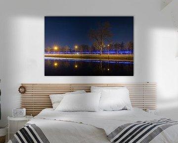 Rijn-Schiekanaal Leiden in de nacht van Dennis van de Water