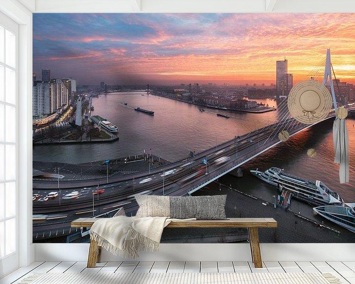 Sfeerimpressie behang: Erasmusbrug van Luc Buthker