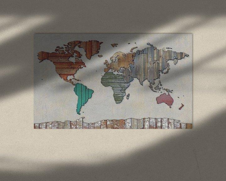 Sfeerimpressie: Wereldkaart in sloophout van Frans Blok