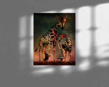 Kinderen Kunst: Amy en Buddy met de giraffen