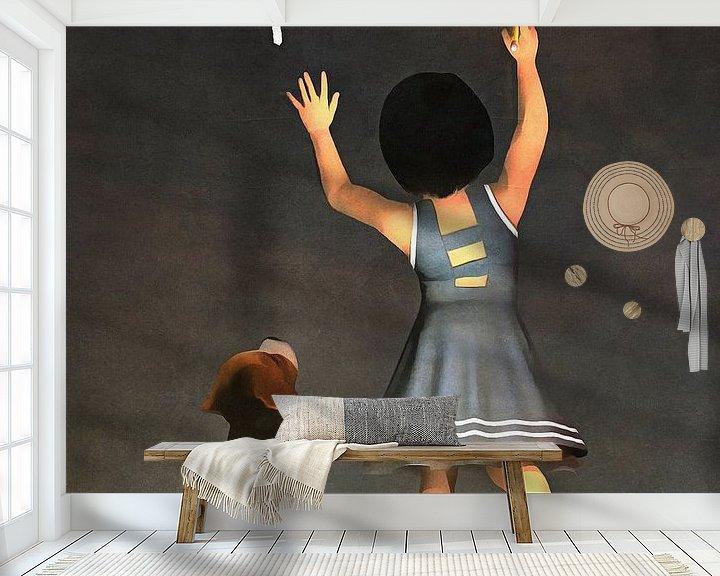 Sfeerimpressie behang: Kinderen Kunst: Amy leert Buddy wiskunde van Jan Keteleer