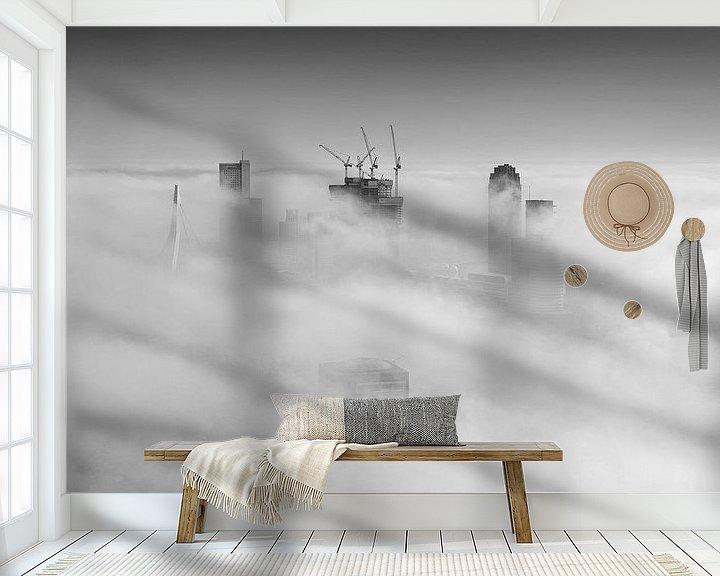 Sfeerimpressie behang: Mistige Maandag in Rotterdam van Rob de Voogd / zzapback