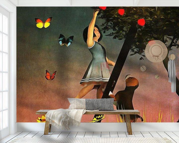 Sfeerimpressie behang: Kinderen Kunst: Samen appels plukken van Jan Keteleer