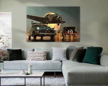 Retro – Klassiek Old-timer auto's met vertrekkend vliegtuig