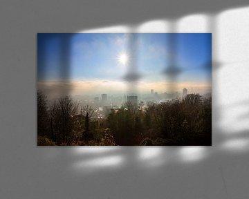 Zonsopkomst skyline Luik von Dennis van de Water