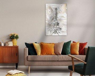 Moderne Kunst EIFFELTURM | Aquarell gold von Melanie Viola