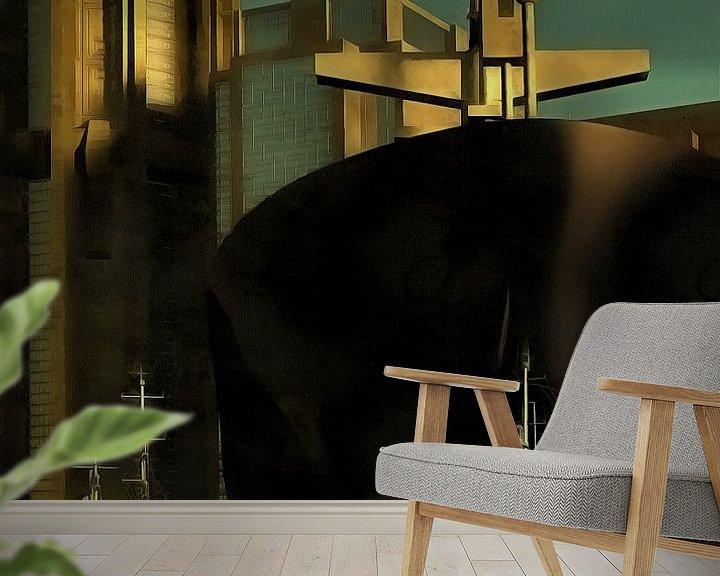 Sfeerimpressie behang: Retro – Klassiek Haven met sleepboten van Jan Keteleer