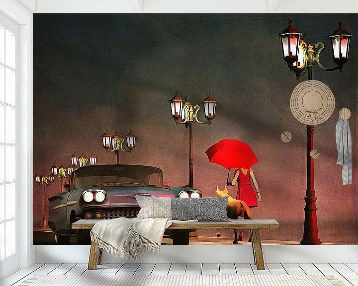 Sfeerimpressie behang: Retro – Klassiek Het meisje in het rood en een oldtimer Chevrolet Belair van Jan Keteleer