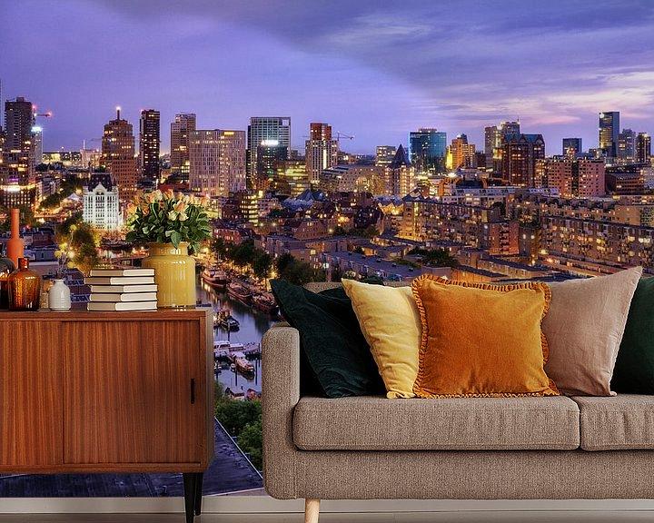 Sfeerimpressie behang: Skyline bij avondlicht | Rotterdam van Menno Verheij / #roffalove