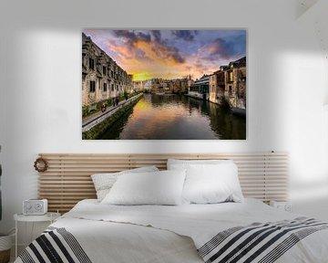zonsondergang Gent België van Etienne Hessels
