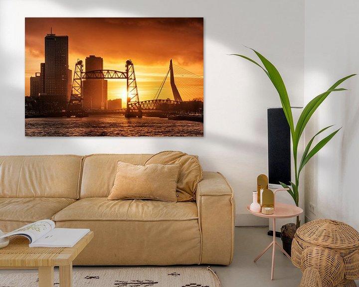 Sfeerimpressie: Zonsondergang aan de Maasboulevard | Rotterdam van Menno Verheij / #roffalove