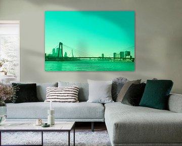 Rotterdam - Willemsbrug en omgeving - in groen tinten von Ineke Duijzer
