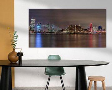 L'horizon de Rotterdam avec les ponts illuminés sur Dennisart Fotografie