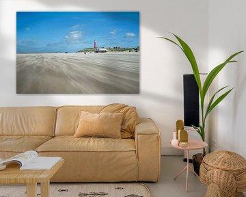 Vuurtoren de Cocksdorp Texel strand van Rene du Chatenier