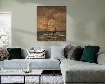 Sonnenuntergang über aufgewühlter See, Hendrik Willem Mesdag