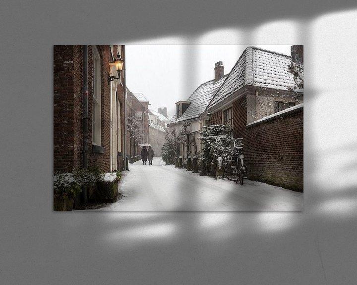 Sfeerimpressie: klassieke sneeuwfoto in de straatjes van Amersfoort van Dennisart Fotografie