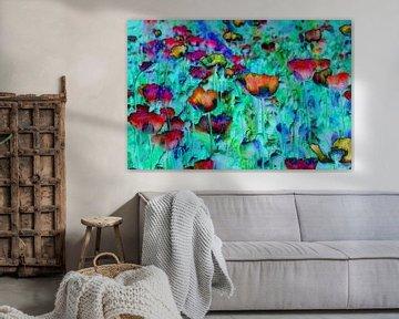 colored poppies van Yvonne Blokland