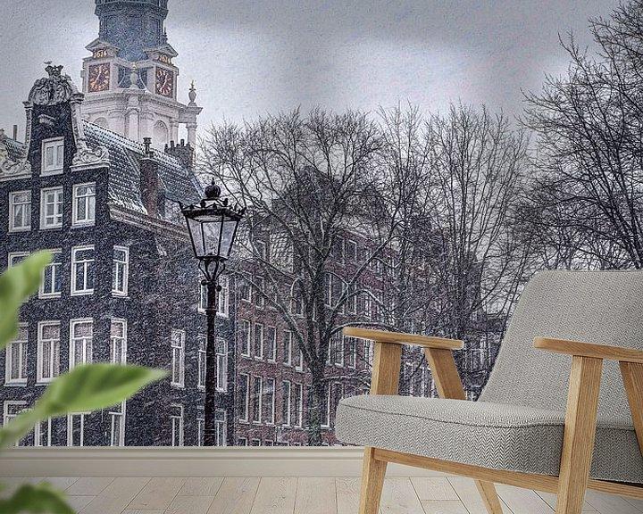 Sfeerimpressie behang: Amsterdam Winter Kloveniersburgwal van Hendrik-Jan Kornelis
