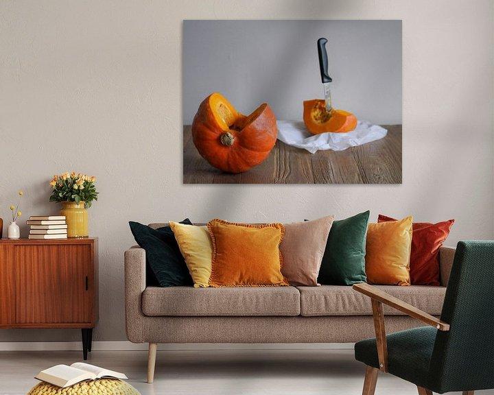Sfeerimpressie: Pompoen stilleven,Pumpkin still life,Kürbisstillleben,Citrouille encore vie van Evelien Brouwer