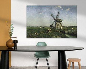 Landschap met molen bij Schiedam, Johannes Hendrik Weissenbruch