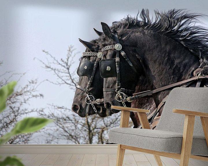 Sfeerimpressie behang: Drie Friese paarden van Wybrich Warns