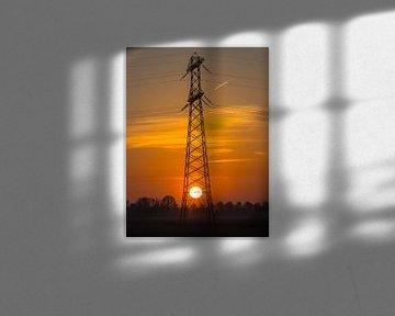 Energiemast met de zon