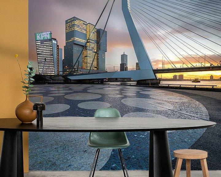 Sfeerimpressie behang: Erasmusbrug Noordereiland - Rotterdam van Prachtig Rotterdam