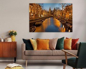 Kerstmis met het Rijksmuseum in Amsterdam Nederland bij zonsondergang von Nisangha Masselink