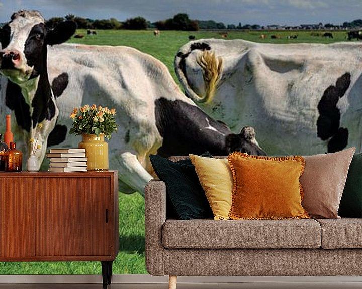 Sfeerimpressie behang: Koeien in Weiland Rijnsaterwoude Nederland Panorama van Hendrik-Jan Kornelis