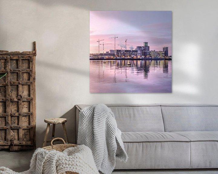 Sfeerimpressie: De graansilo van Katendrecht bij zonsopkomst van Frans Blok