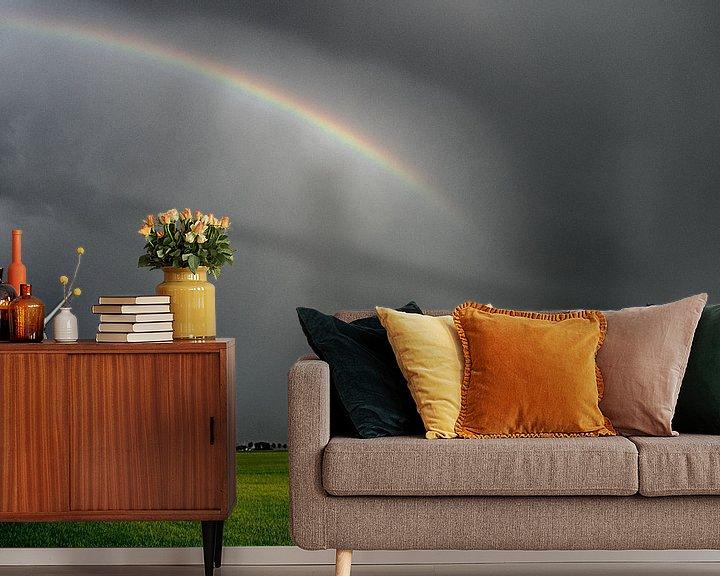 Sfeerimpressie behang: Regenboog met groen gras van Martijn Tilroe