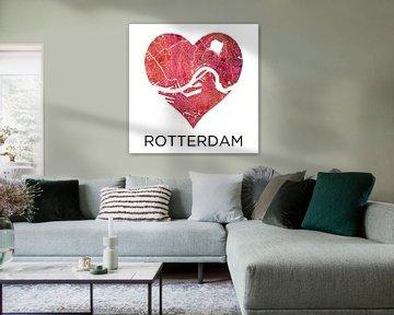 Liebe zu Rotterdam | Stadtplan im Herzen von Wereldkaarten.Shop