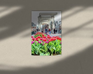 De Magere Brug met tulpen van Hendrik-Jan Kornelis