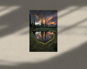 Reflecting mountain landscape