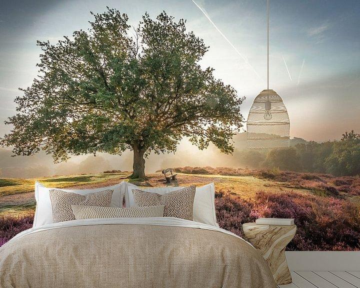 Sfeerimpressie behang: Stralende zon achter een boom op de paarse Mookerheide van Michel Seelen