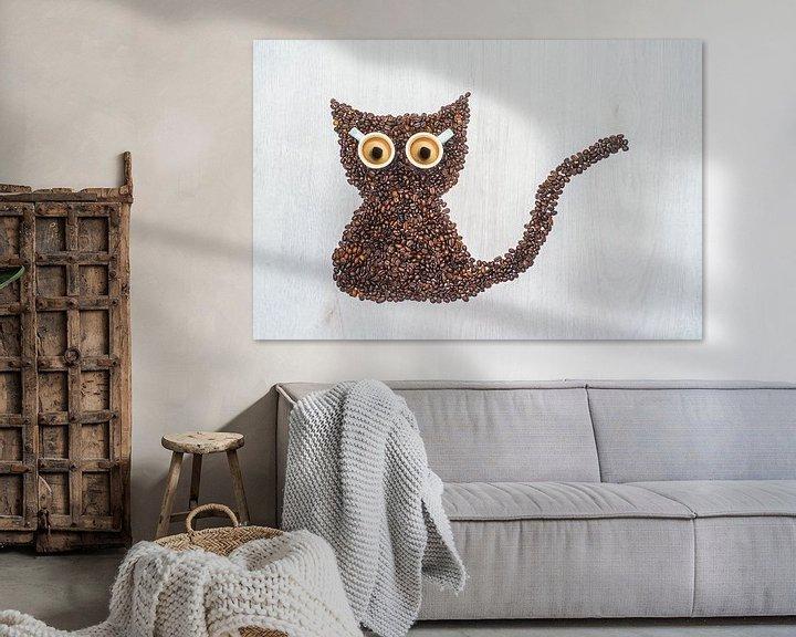 Sfeerimpressie: Meow, I'm a coffee cat. van Elianne van Turennout